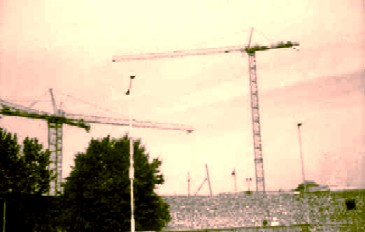it's some cranes.  cant you read!